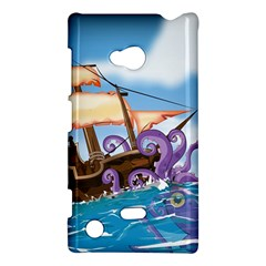 Pirate Ship Attacked By Giant Squid cartoon. Nokia Lumia 720 Hardshell Case