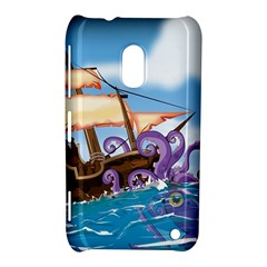 Pirate Ship Attacked By Giant Squid cartoon. Nokia Lumia 620 Hardshell Case