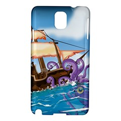 Pirate Ship Attacked By Giant Squid cartoon. Samsung Galaxy Note 3 N9005 Hardshell Case