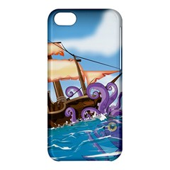 Pirate Ship Attacked By Giant Squid cartoon. Apple iPhone 5C Hardshell Case