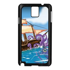 Pirate Ship Attacked By Giant Squid cartoon. Samsung Galaxy Note 3 N9005 Case (Black)