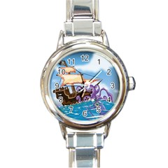 Pirate Ship Attacked By Giant Squid cartoon. Round Italian Charm Watch