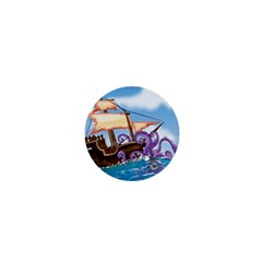 Pirate Ship Attacked By Giant Squid cartoon. 1  Mini Button Magnet