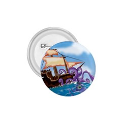 Pirate Ship Attacked By Giant Squid Cartoon  1 75  Button
