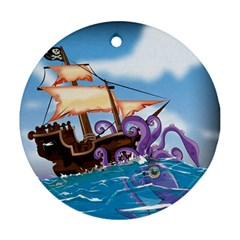 Pirate Ship Attacked By Giant Squid cartoon. Round Ornament