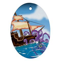 Pirate Ship Attacked By Giant Squid cartoon. Oval Ornament
