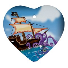 Pirate Ship Attacked By Giant Squid cartoon. Heart Ornament