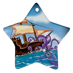 Pirate Ship Attacked By Giant Squid cartoon. Star Ornament
