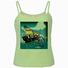 Pirate Ship Attacked By Giant Squid cartoon. Green Spaghetti Tank