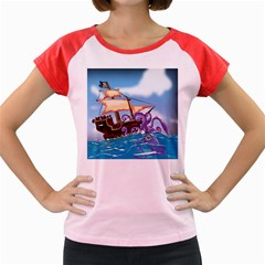 Pirate Ship Attacked By Giant Squid Cartoon  Women s Cap Sleeve T Shirt (colored)