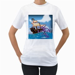 Pirate Ship Attacked By Giant Squid Cartoon  Women s Two Sided T Shirt (white)