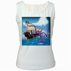 Pirate Ship Attacked By Giant Squid cartoon. Women s Tank Top (White)