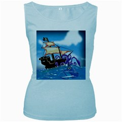 Pirate Ship Attacked By Giant Squid cartoon. Women s Tank Top (Baby Blue)