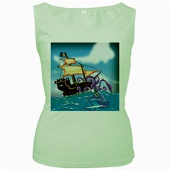 Pirate Ship Attacked By Giant Squid Cartoon  Women s Tank Top (green)