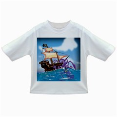 Pirate Ship Attacked By Giant Squid cartoon. Baby T-shirt