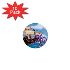 Pirate Ship Attacked By Giant Squid Cartoon  1  Mini Button (10 Pack)