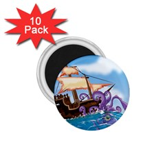 Pirate Ship Attacked By Giant Squid Cartoon  1 75  Button Magnet (10 Pack)