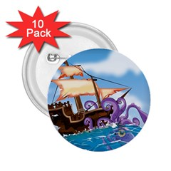 Pirate Ship Attacked By Giant Squid cartoon. 2.25  Button (10 pack)