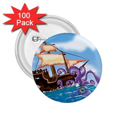 Pirate Ship Attacked By Giant Squid Cartoon  2 25  Button (100 Pack)