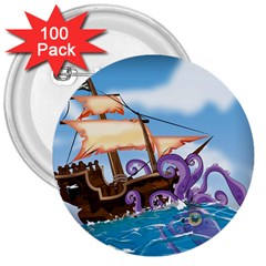 Pirate Ship Attacked By Giant Squid cartoon. 3  Button (100 pack)