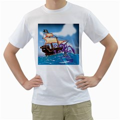 Pirate Ship Attacked By Giant Squid cartoon. Men s Two-sided T-shirt (White)