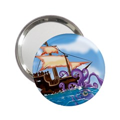 Pirate Ship Attacked By Giant Squid cartoon. Handbag Mirror (2.25 )