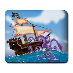 Pirate Ship Attacked By Giant Squid cartoon. Large Mouse Pad (Rectangle)