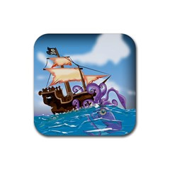 Pirate Ship Attacked By Giant Squid cartoon. Drink Coasters 4 Pack (Square)