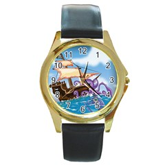 Pirate Ship Attacked By Giant Squid cartoon. Round Leather Watch (Gold Rim)