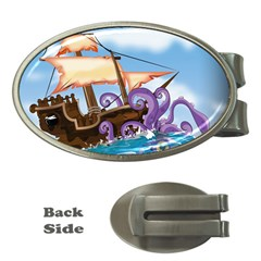Pirate Ship Attacked By Giant Squid cartoon. Money Clip (Oval)