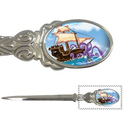 Pirate Ship Attacked By Giant Squid cartoon. Letter Opener