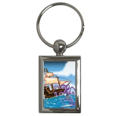 Pirate Ship Attacked By Giant Squid cartoon. Key Chain (Rectangle)