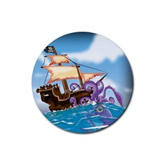 Pirate Ship Attacked By Giant Squid cartoon. Drink Coaster (Round)