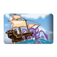 Pirate Ship Attacked By Giant Squid cartoon. Magnet (Rectangular)