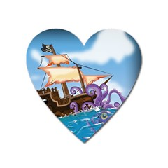 Pirate Ship Attacked By Giant Squid cartoon. Magnet (Heart)