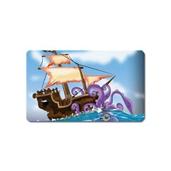 Pirate Ship Attacked By Giant Squid cartoon. Magnet (Name Card)