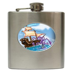 Pirate Ship Attacked By Giant Squid cartoon. Hip Flask