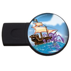 Pirate Ship Attacked By Giant Squid cartoon. 2GB USB Flash Drive (Round)