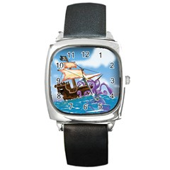 Pirate Ship Attacked By Giant Squid cartoon. Square Leather Watch