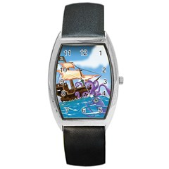 Pirate Ship Attacked By Giant Squid cartoon. Tonneau Leather Watch
