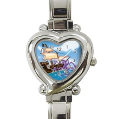 Pirate Ship Attacked By Giant Squid cartoon. Heart Italian Charm Watch