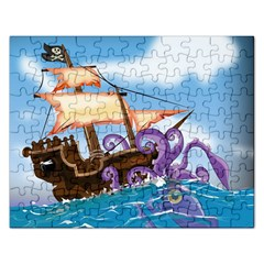 Pirate Ship Attacked By Giant Squid cartoon. Jigsaw Puzzle (Rectangle)