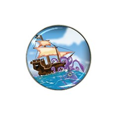 Pirate Ship Attacked By Giant Squid cartoon. Golf Ball Marker 4 Pack (for Hat Clip)