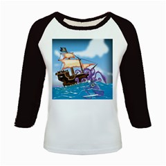 Pirate Ship Attacked By Giant Squid cartoon. Kids Long Cap Sleeve T-Shirt