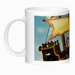 Pirate Ship Attacked By Giant Squid cartoon. Glow in the Dark Mug
