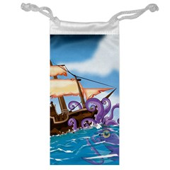 Pirate Ship Attacked By Giant Squid cartoon. Jewelry Bag