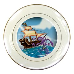 Pirate Ship Attacked By Giant Squid cartoon. Porcelain Display Plate
