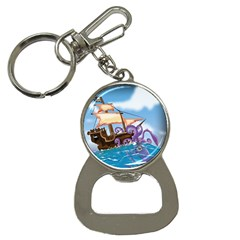 Pirate Ship Attacked By Giant Squid cartoon. Bottle Opener Key Chain