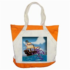 Pirate Ship Attacked By Giant Squid cartoon. Accent Tote Bag