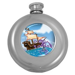 Pirate Ship Attacked By Giant Squid cartoon. Hip Flask (Round)